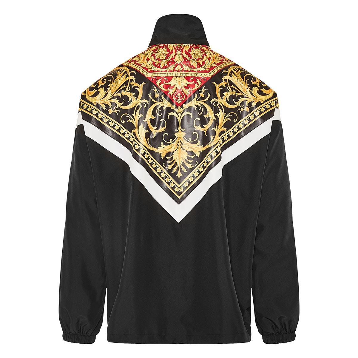 Baroque print oversized nylon jacket