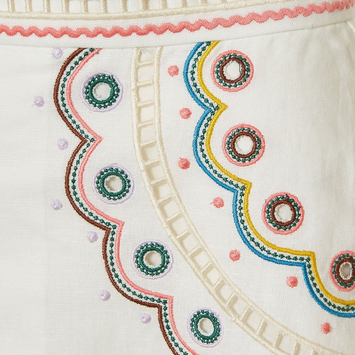 Peggy embroidered linen shorts