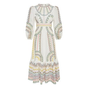 Peggy embroidered linen midi dress