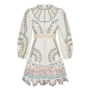 Peggy embroidered linen mini dress