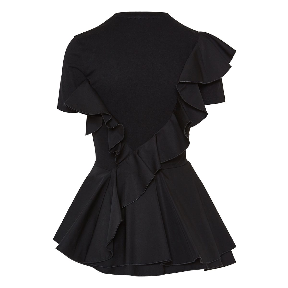 Asymmetric ruffled peplum t-shirt