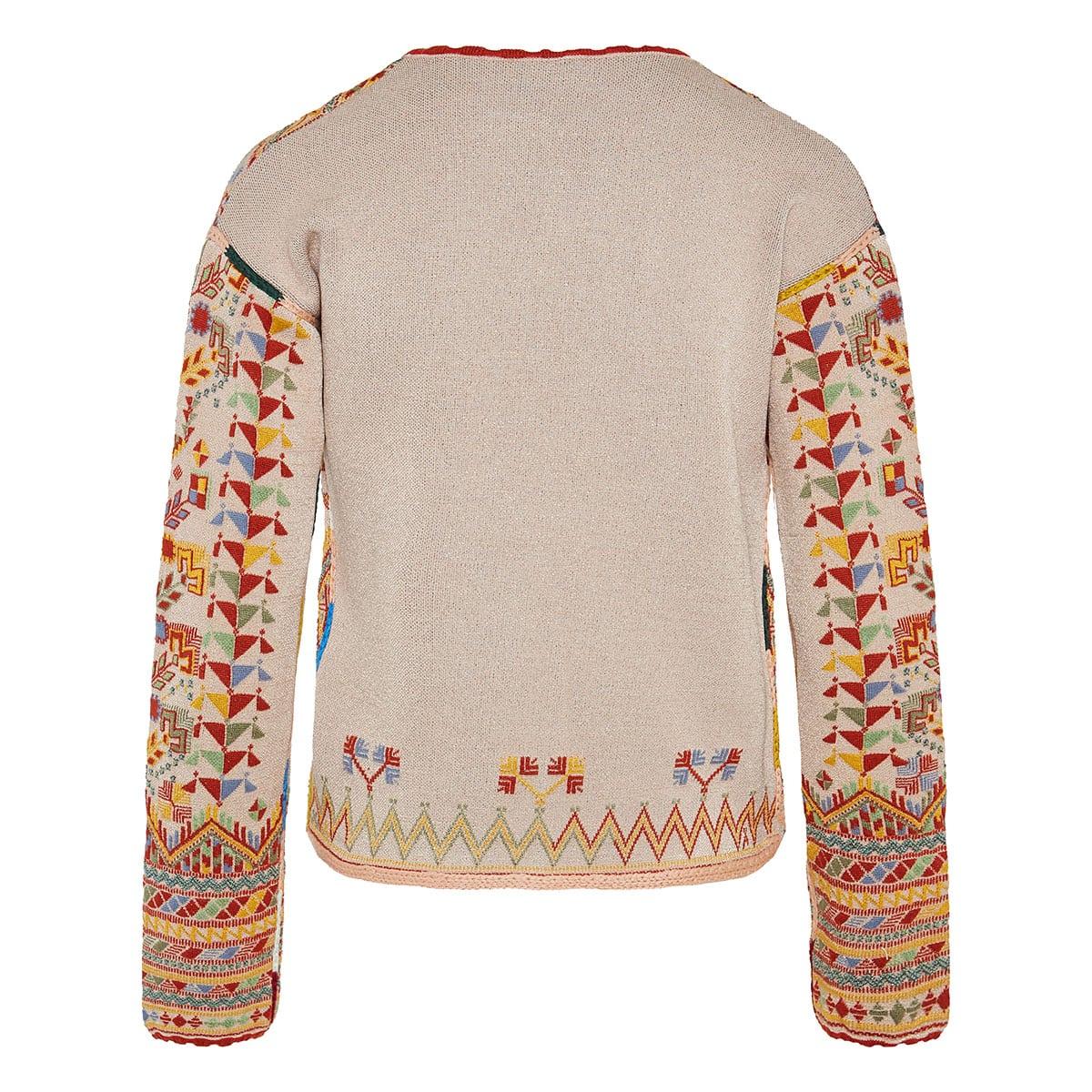 Ethnic print jacquard knitted jacket