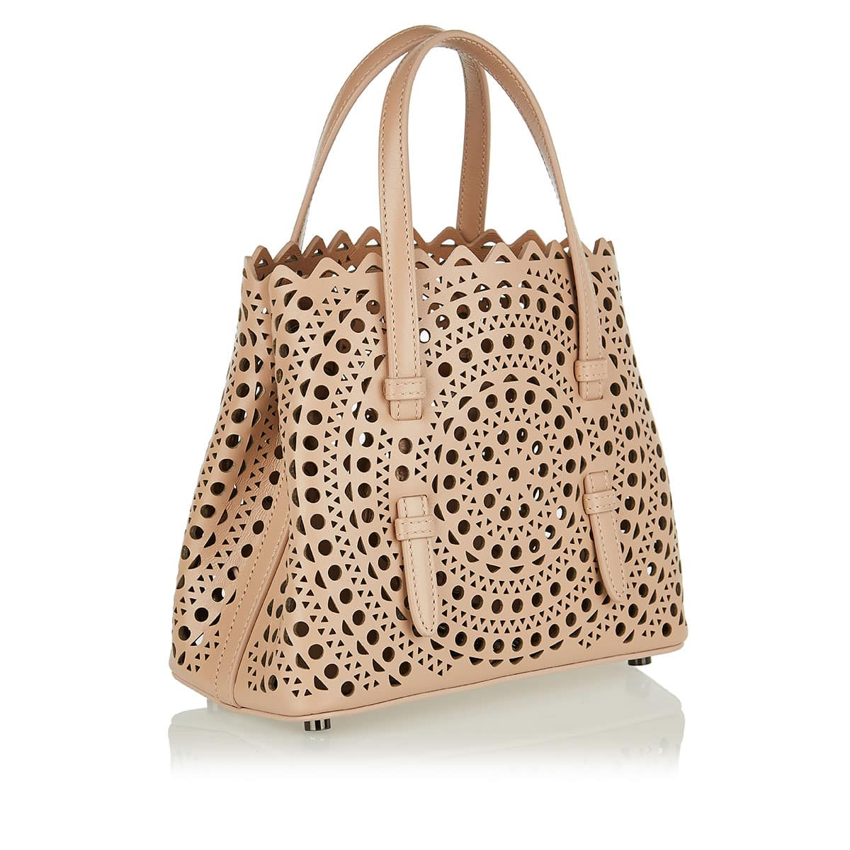 Laser-cut micro leather tote