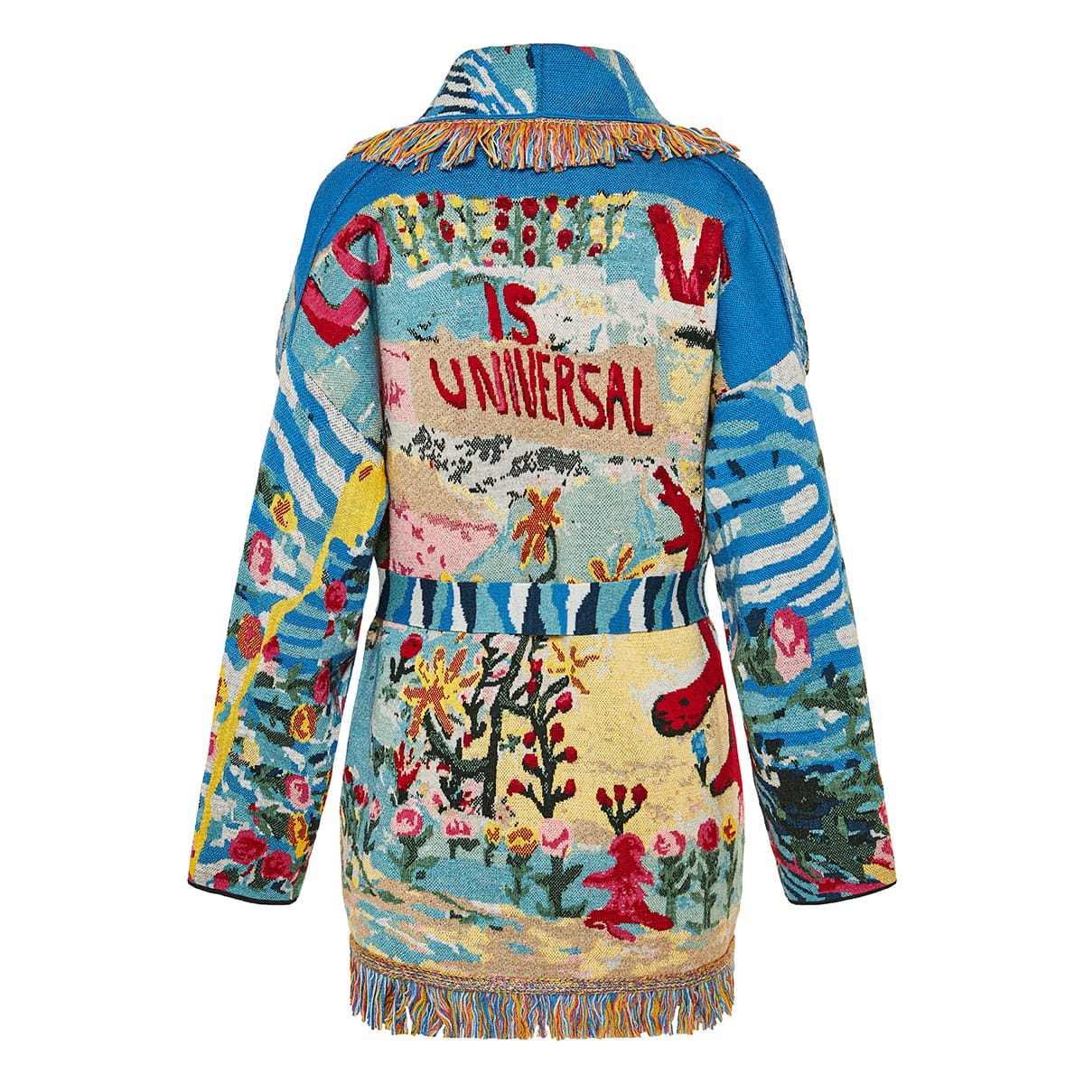Love is Universal oversized printed cardigan