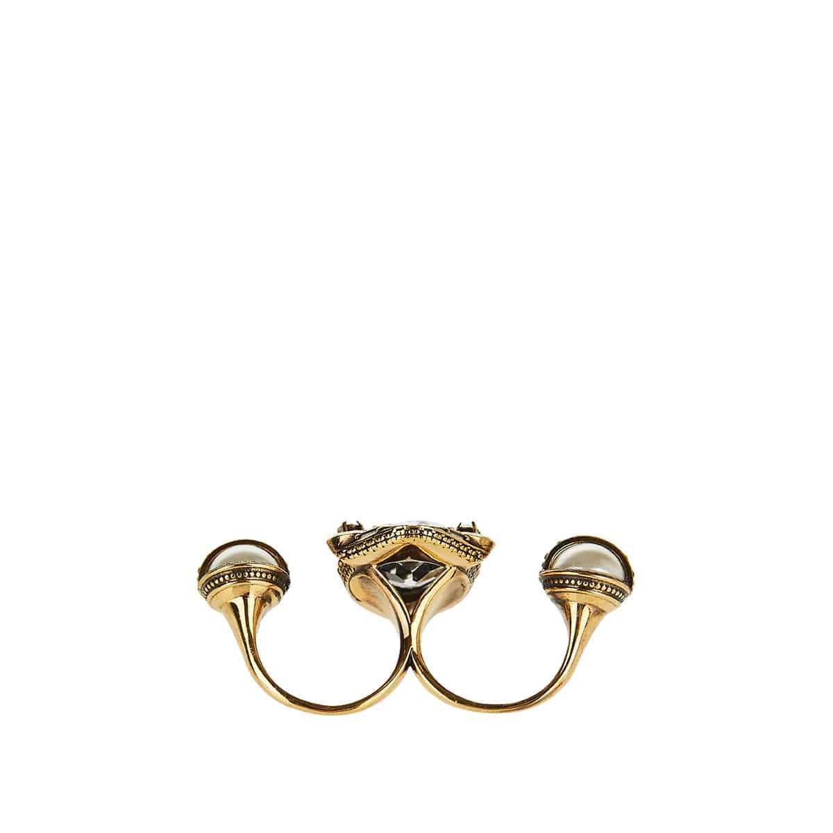Embellished brass double ring