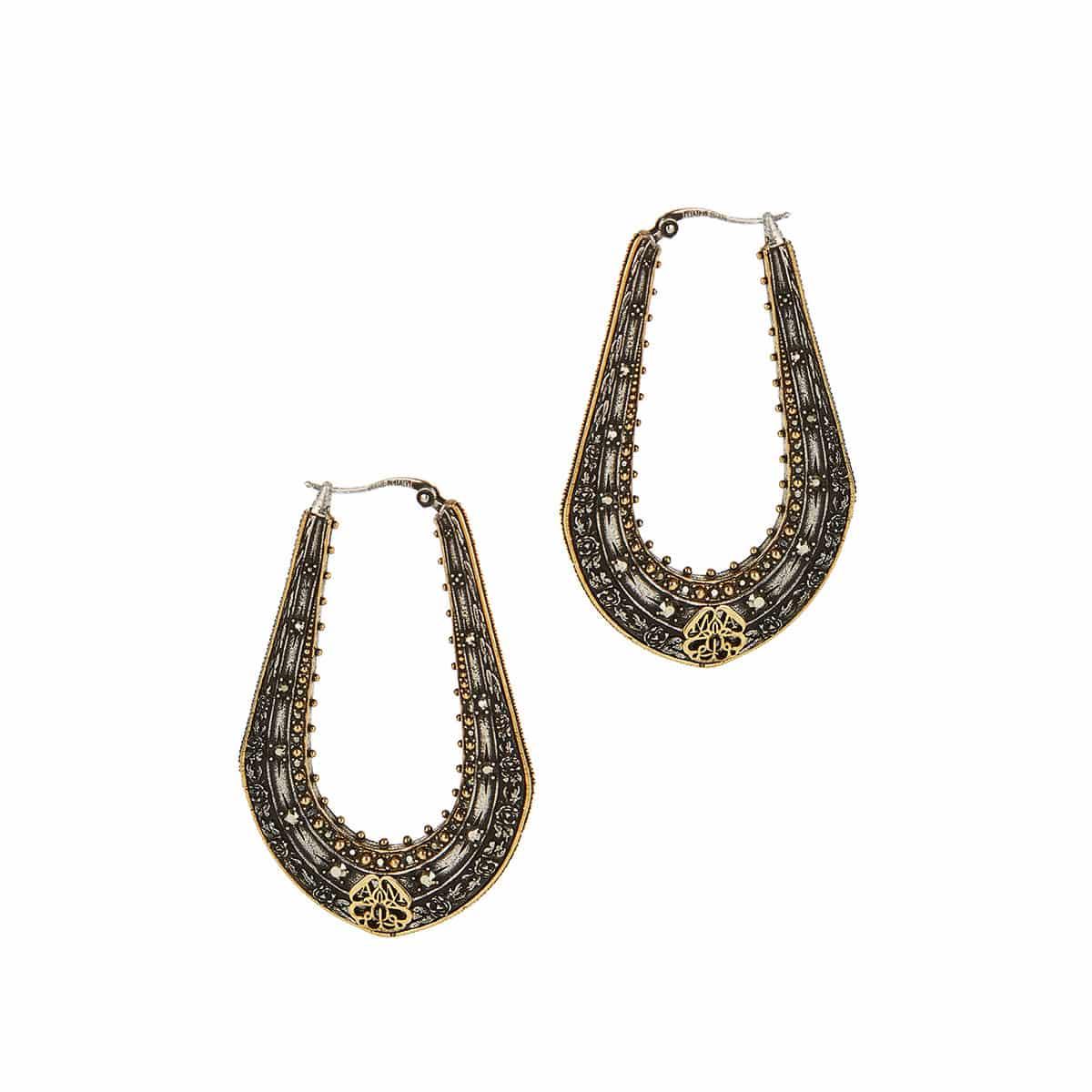 Engraved brass earrings