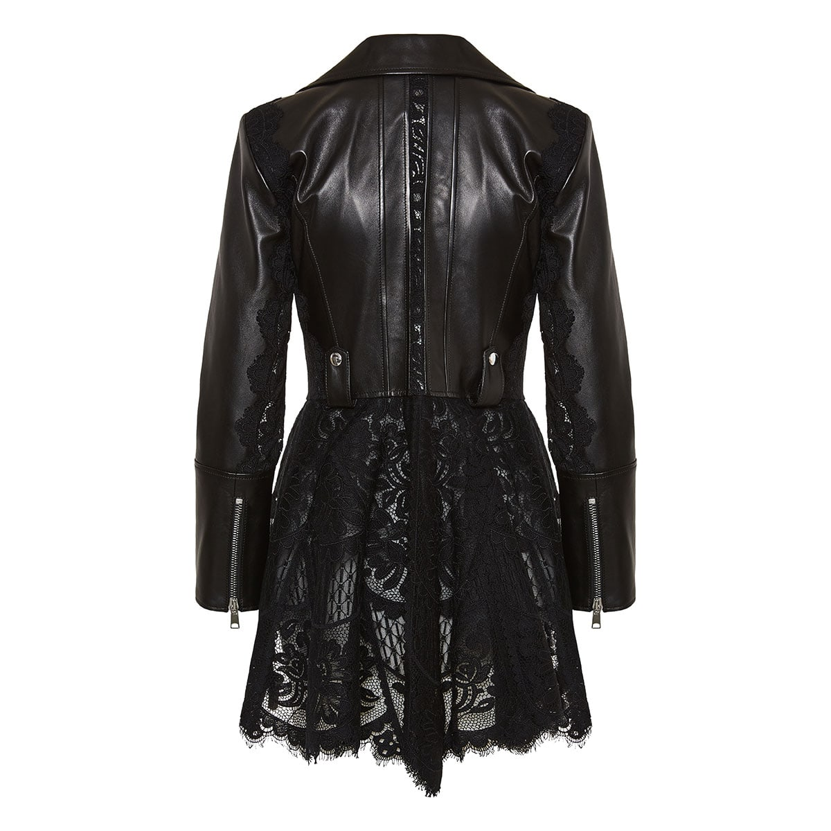 Lace-trimmed peplum leather jacket