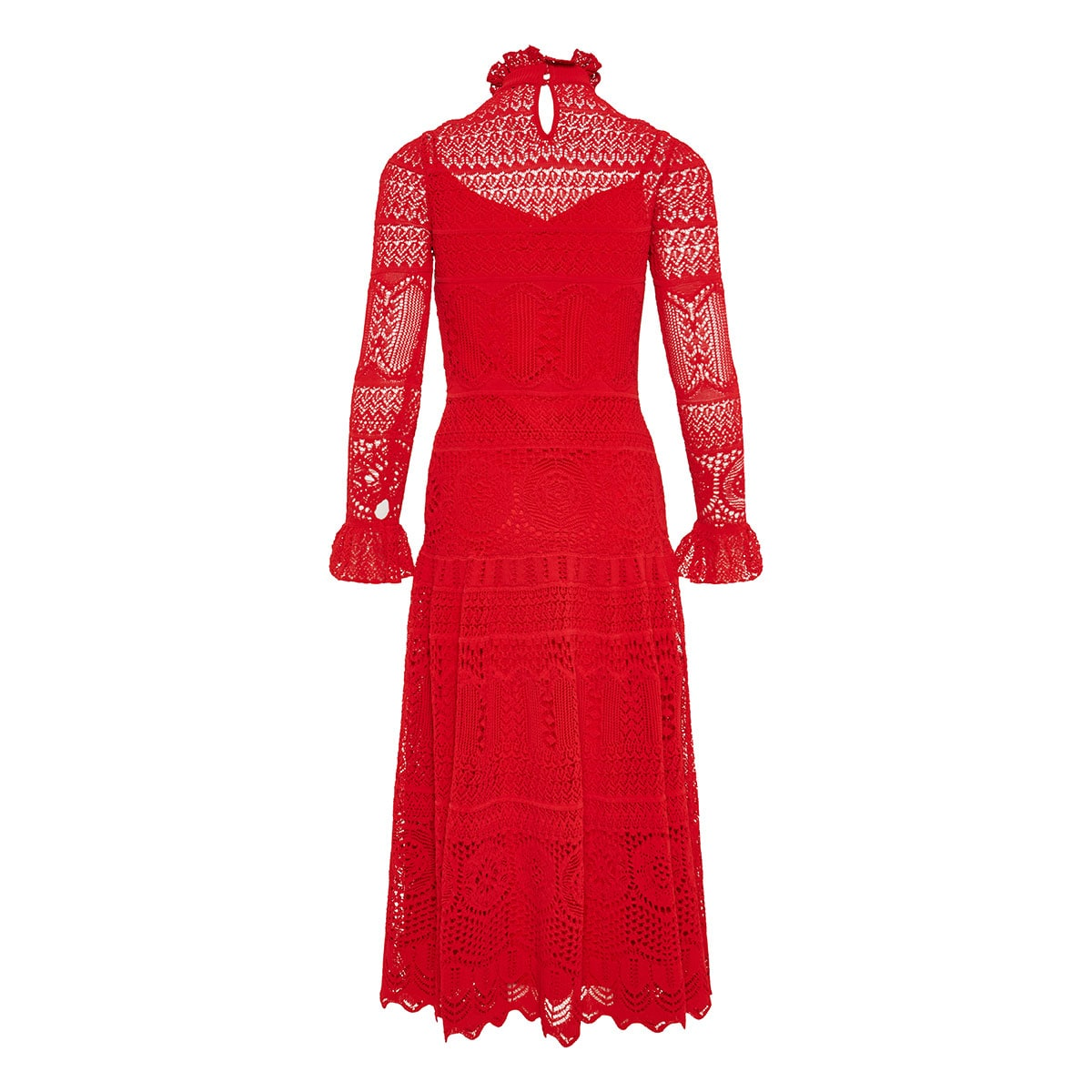 Ruffled long crochet-knitted dress