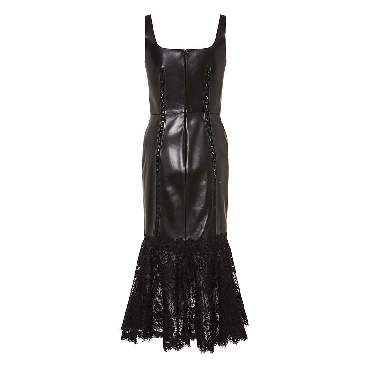 Lace-trimmed structured leather dress
