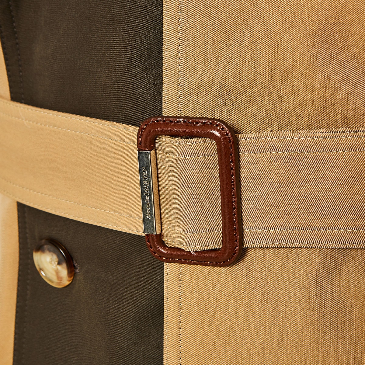 Two-tone asymmetric trench coat