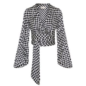 Balloon-sleeved polka-dot cropped blouse
