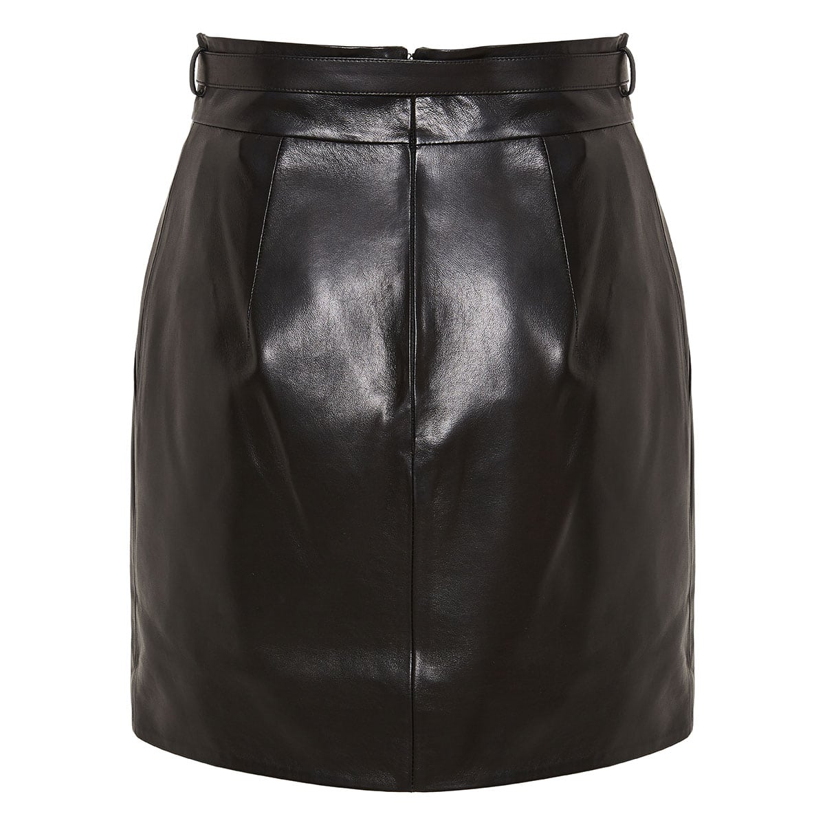 Jeweled-buckle leather mini skirt