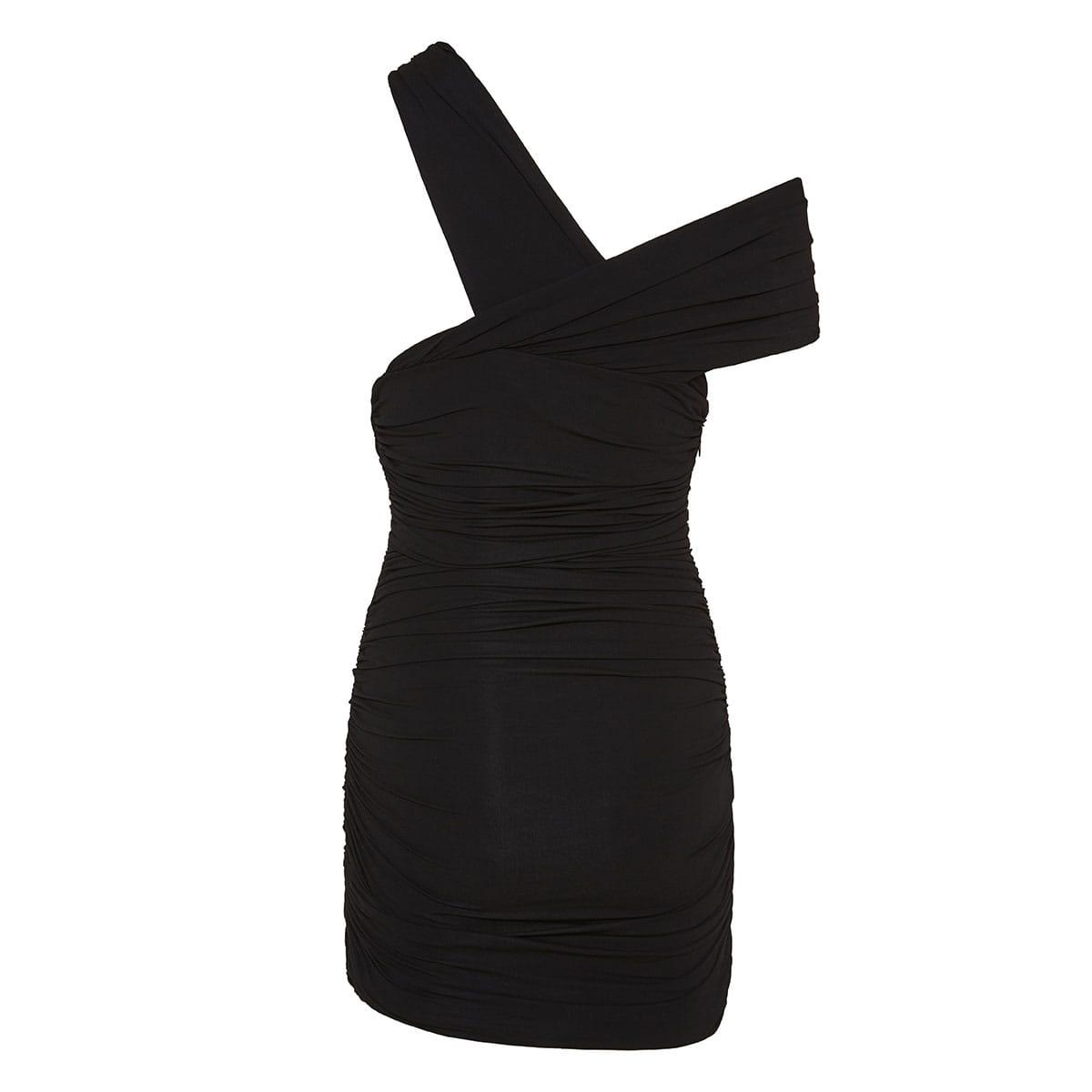 Asymmetric ruched mini dress