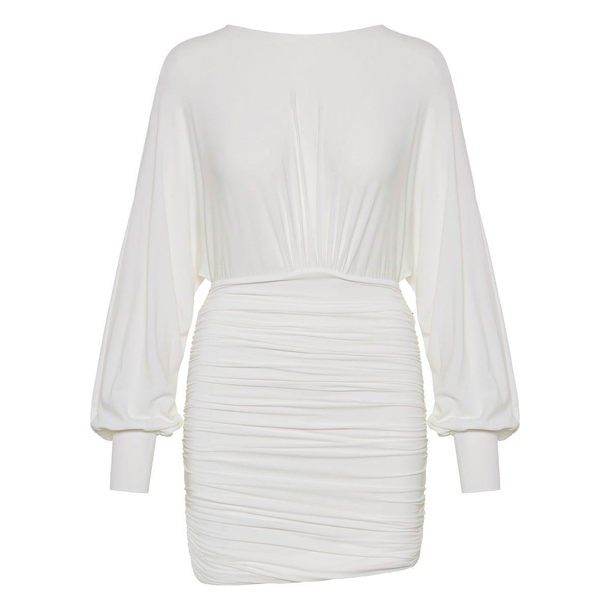 Open-back ruched mini dress