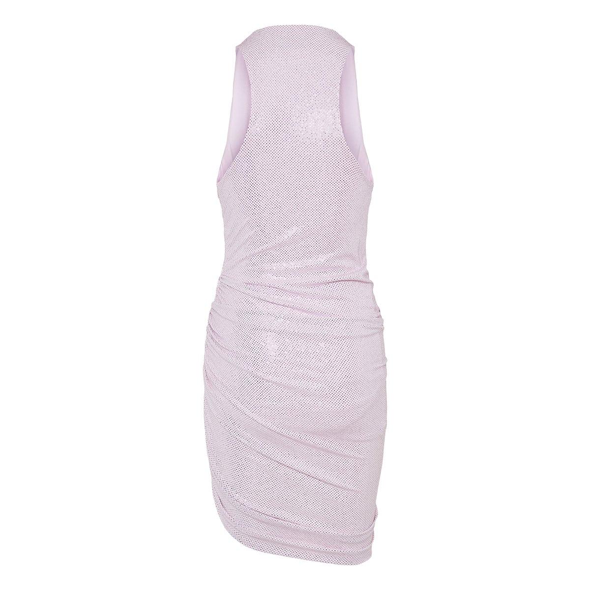 Crystal-embellished ruched mini dress