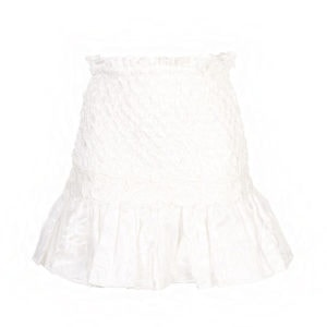 Lotus smocked ruffled mini skirt