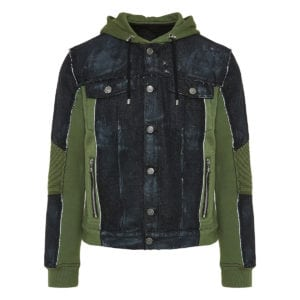 Denim-paneled hooded jacket