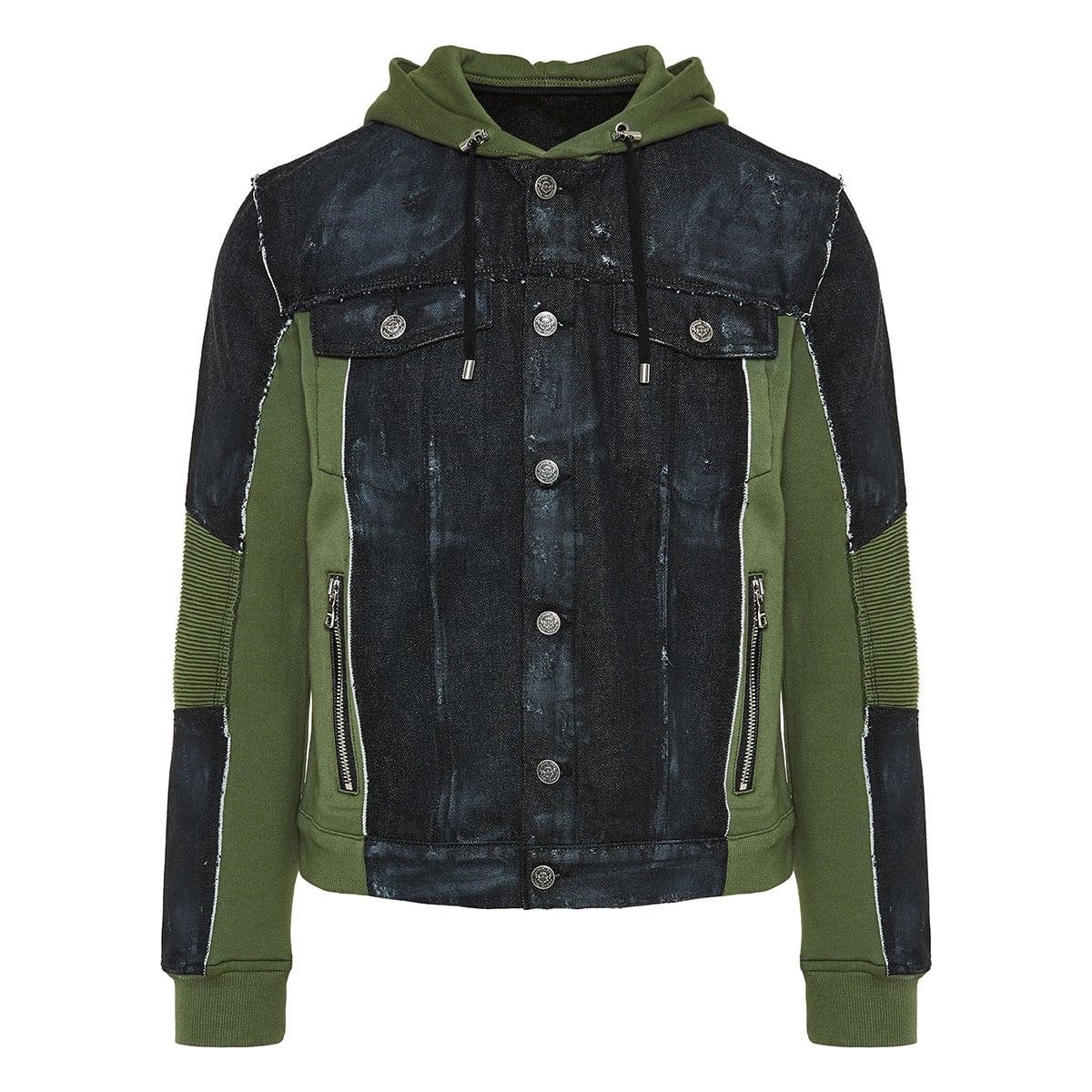 Denim-paneled hooded jacket