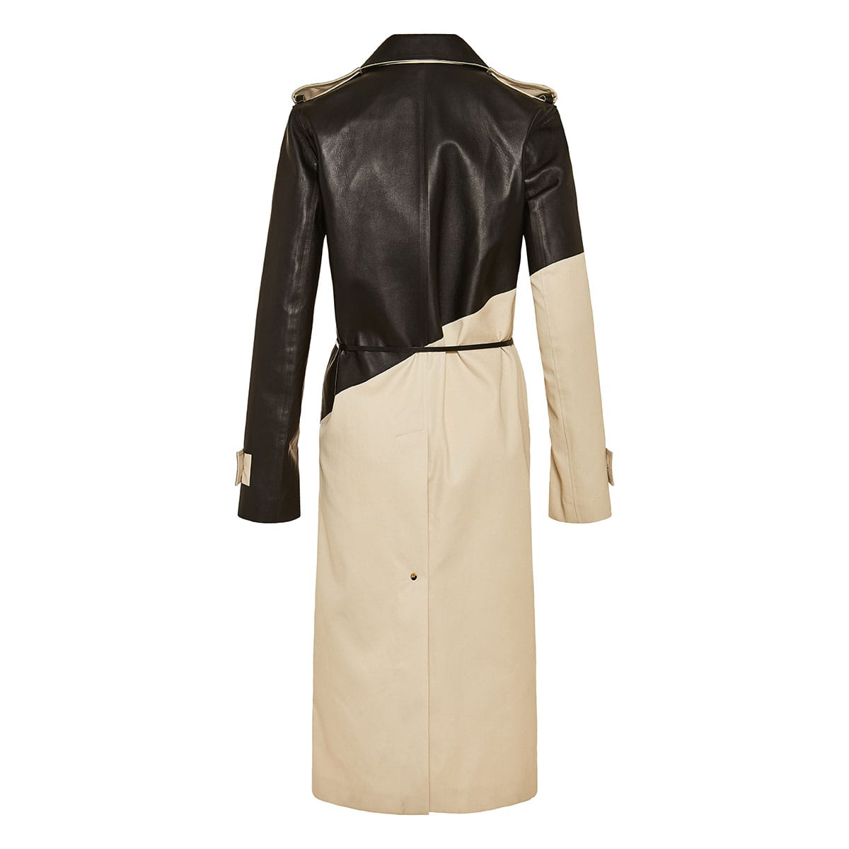 Leather and gabardine trench coat