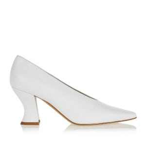 Curved-heel leather pumps