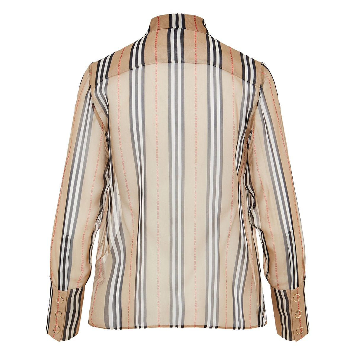 Logo and Stripe bow-tie sheer shirt
