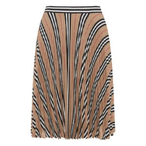 Logo and stripe pleated skirt