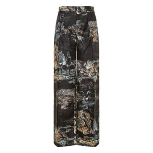 Wide-leg printed silk trousers