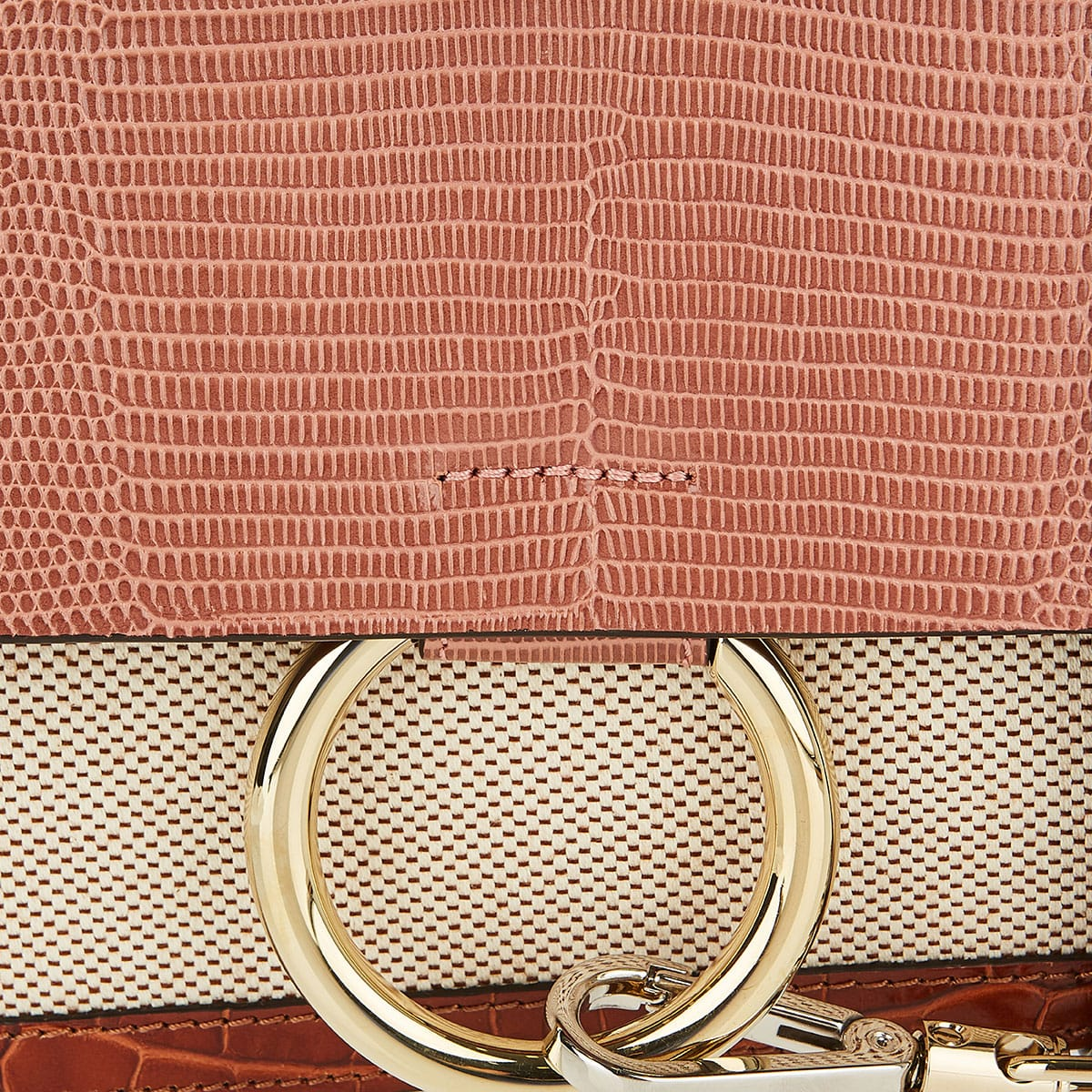 Faye small lizard-effect canvas bag