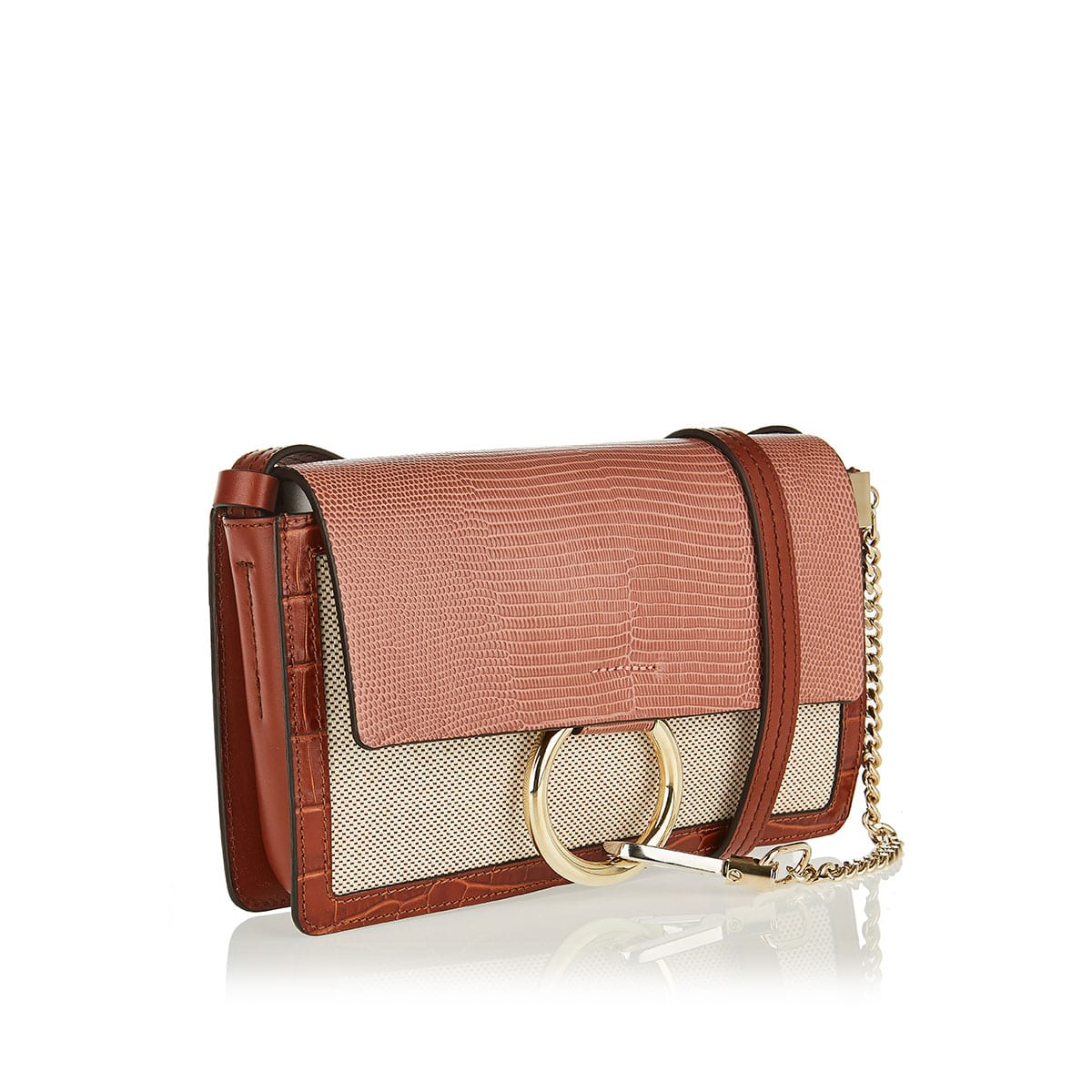 Faye small lizard-effect canvas bag