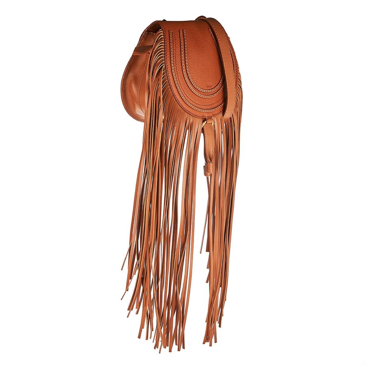 Marcie mini fringed leather bag