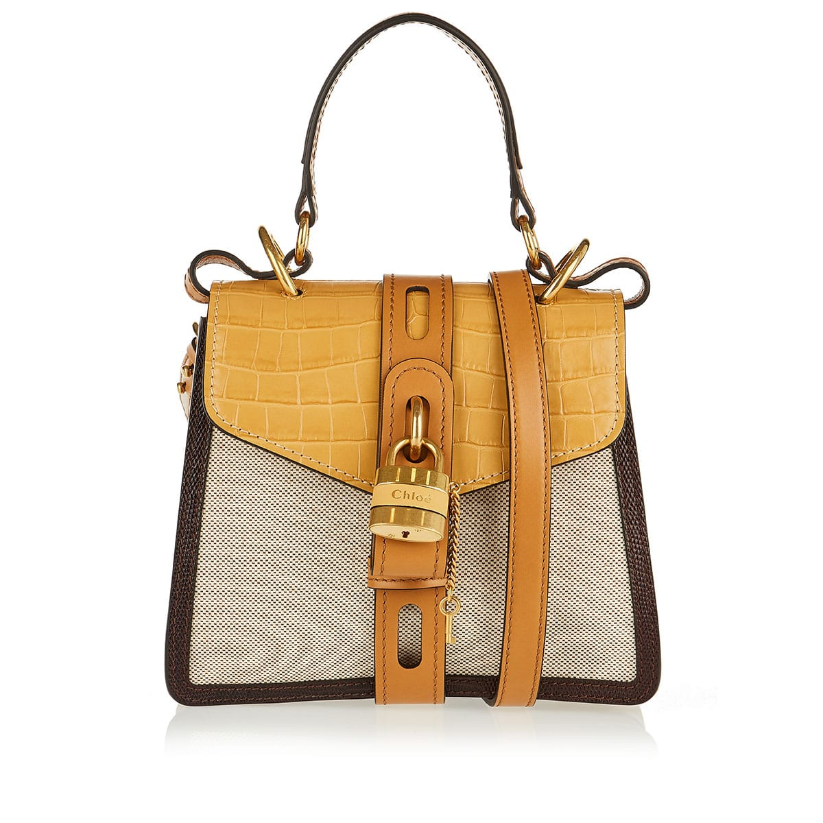 Aby small croc-effect leather and canvas bag