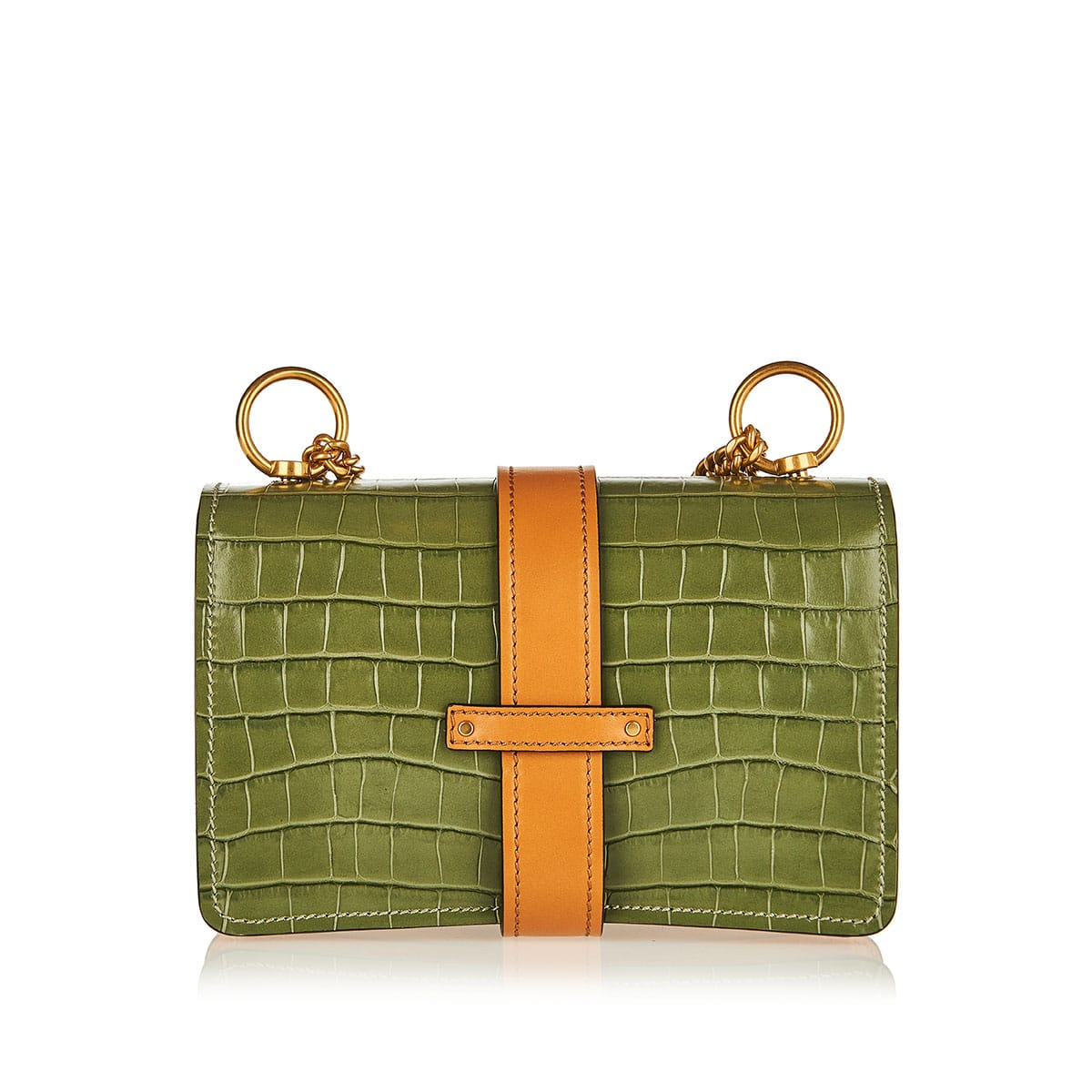 Aby croc-effect leather and canvas shoulder bag