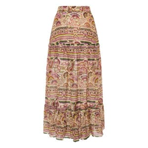 Nina printed long tiered skirt