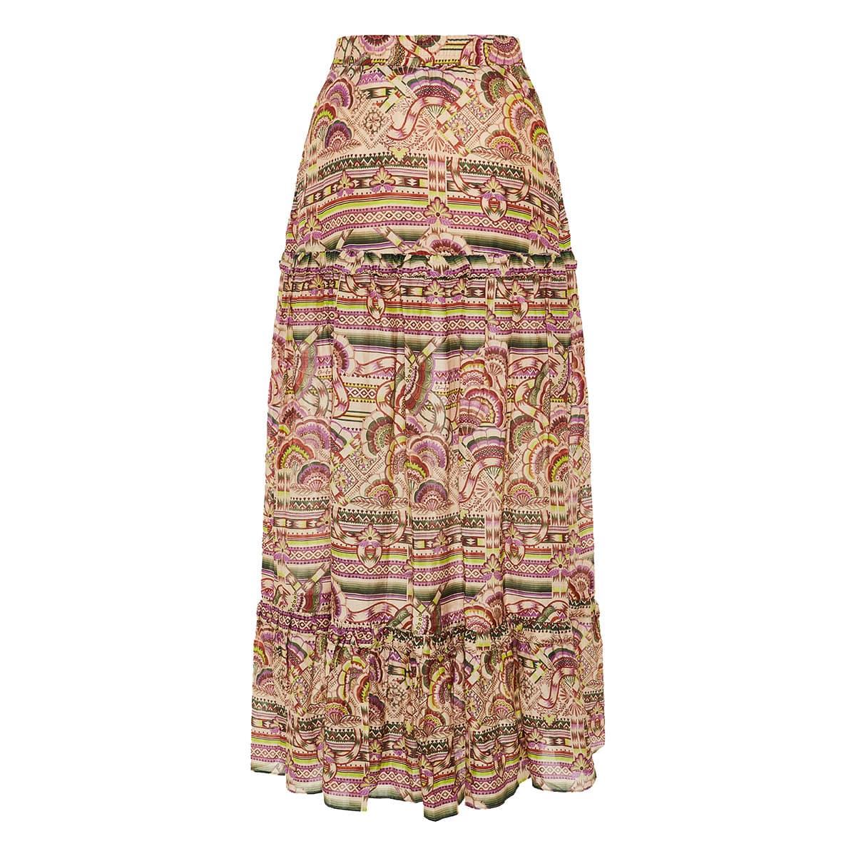 Nina printed long tiered skirt