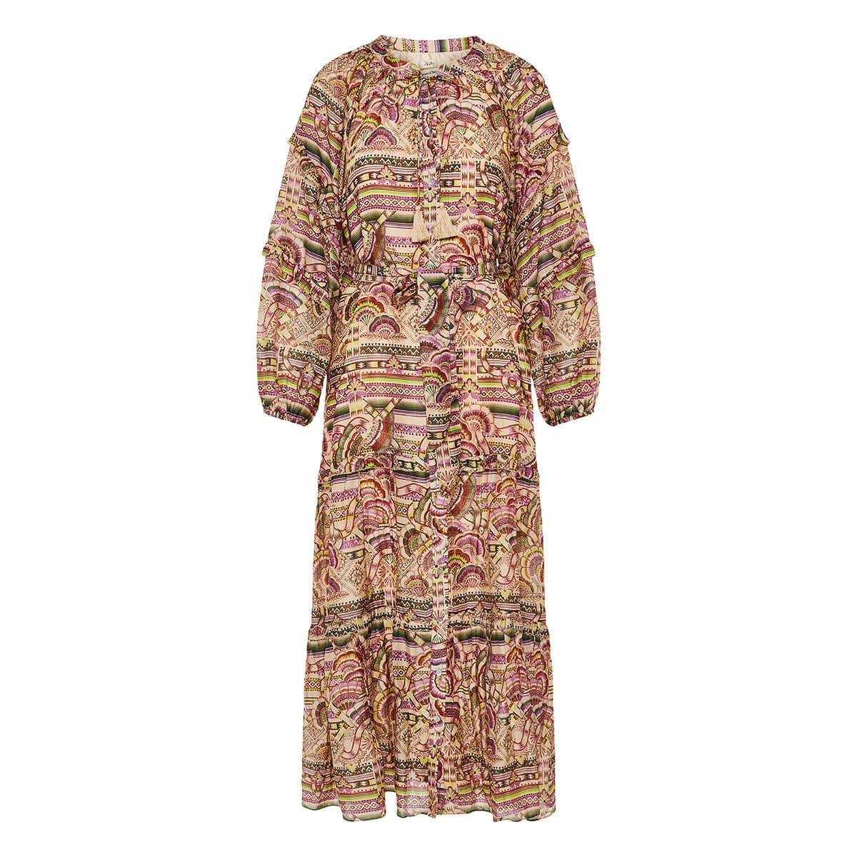 Nina long printed tiered dress