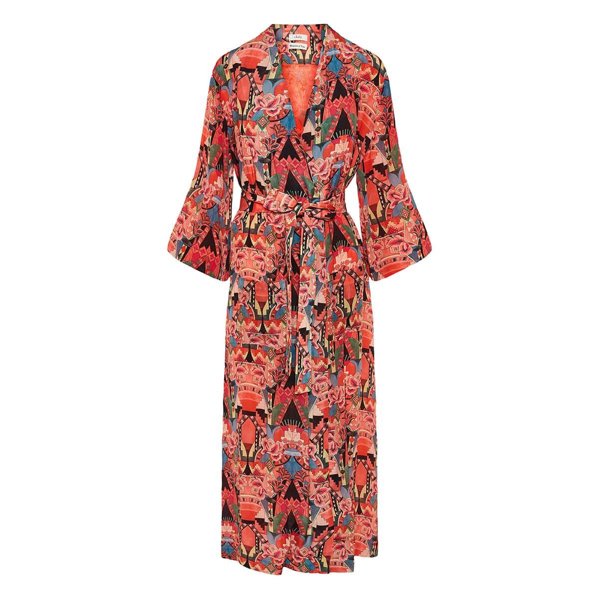 Printed midi robe dress