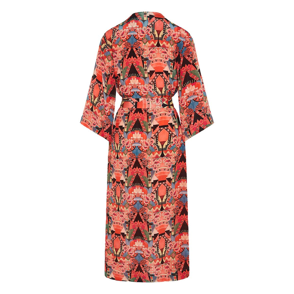 Printed midi robe dress