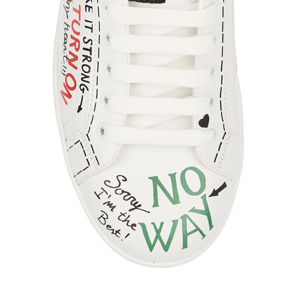Portofino embellished printed leather sneakers