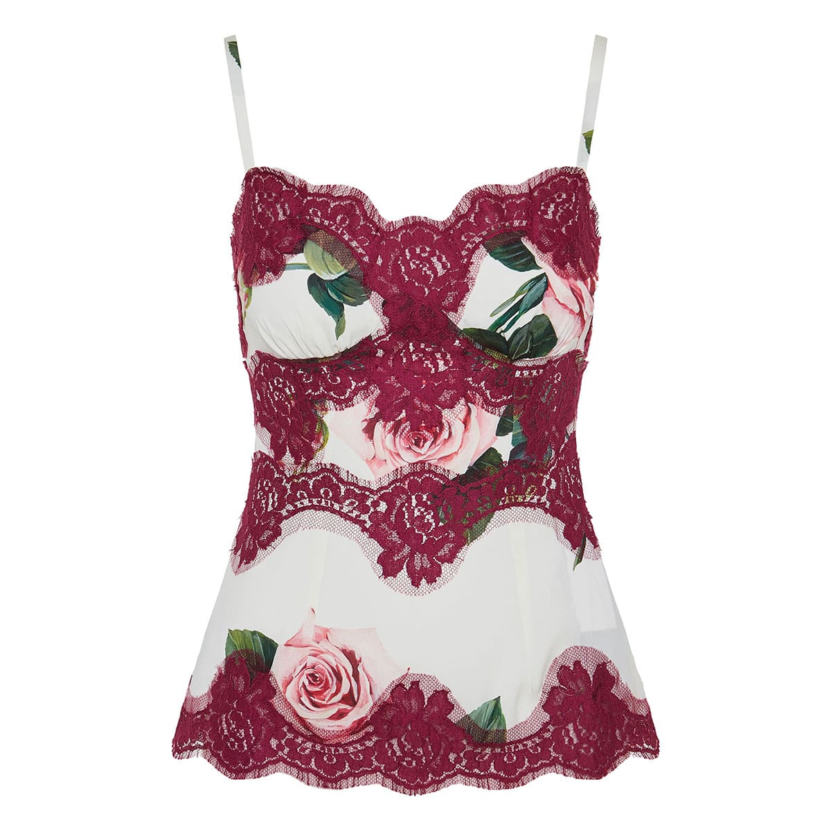 Lace-paneled floral camisole top