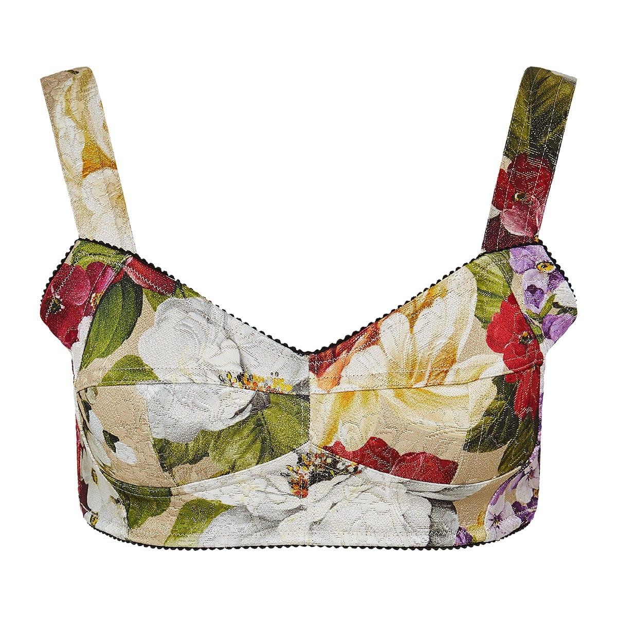 Floral jacquard bustier top