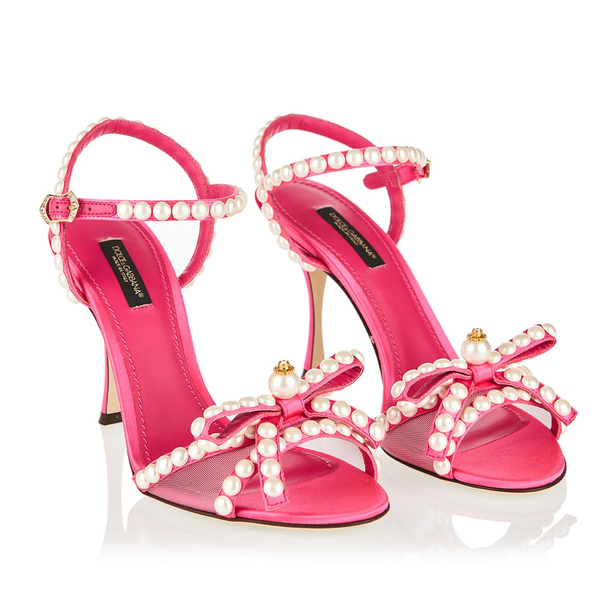 Pearl-embellished satin sandals