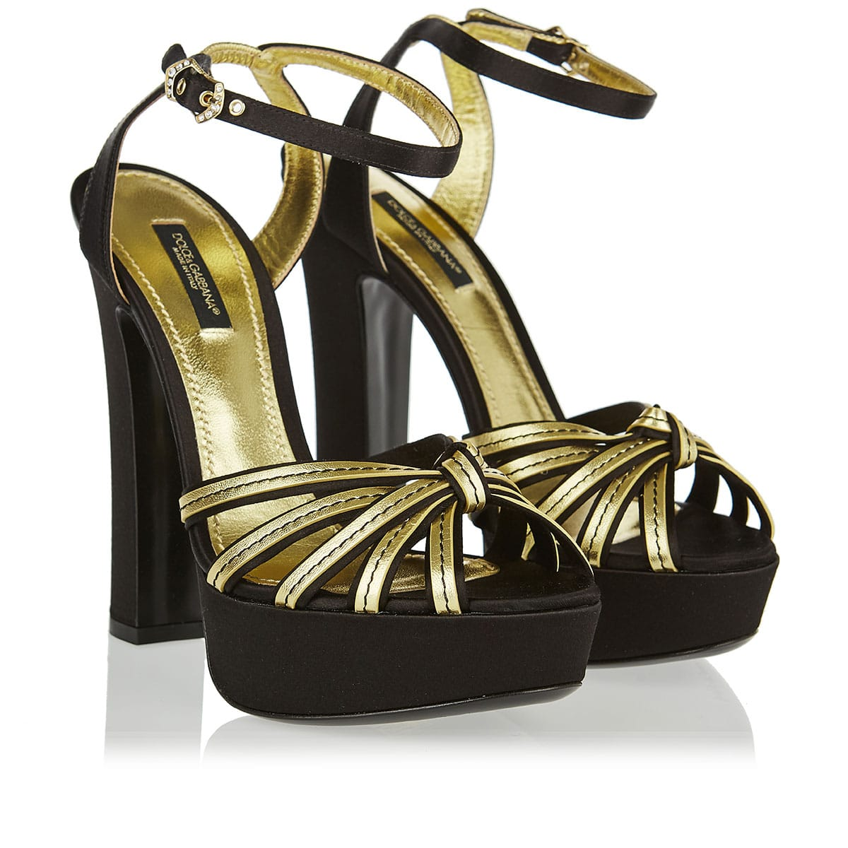 Bianca metallic leather and satin platform sandals