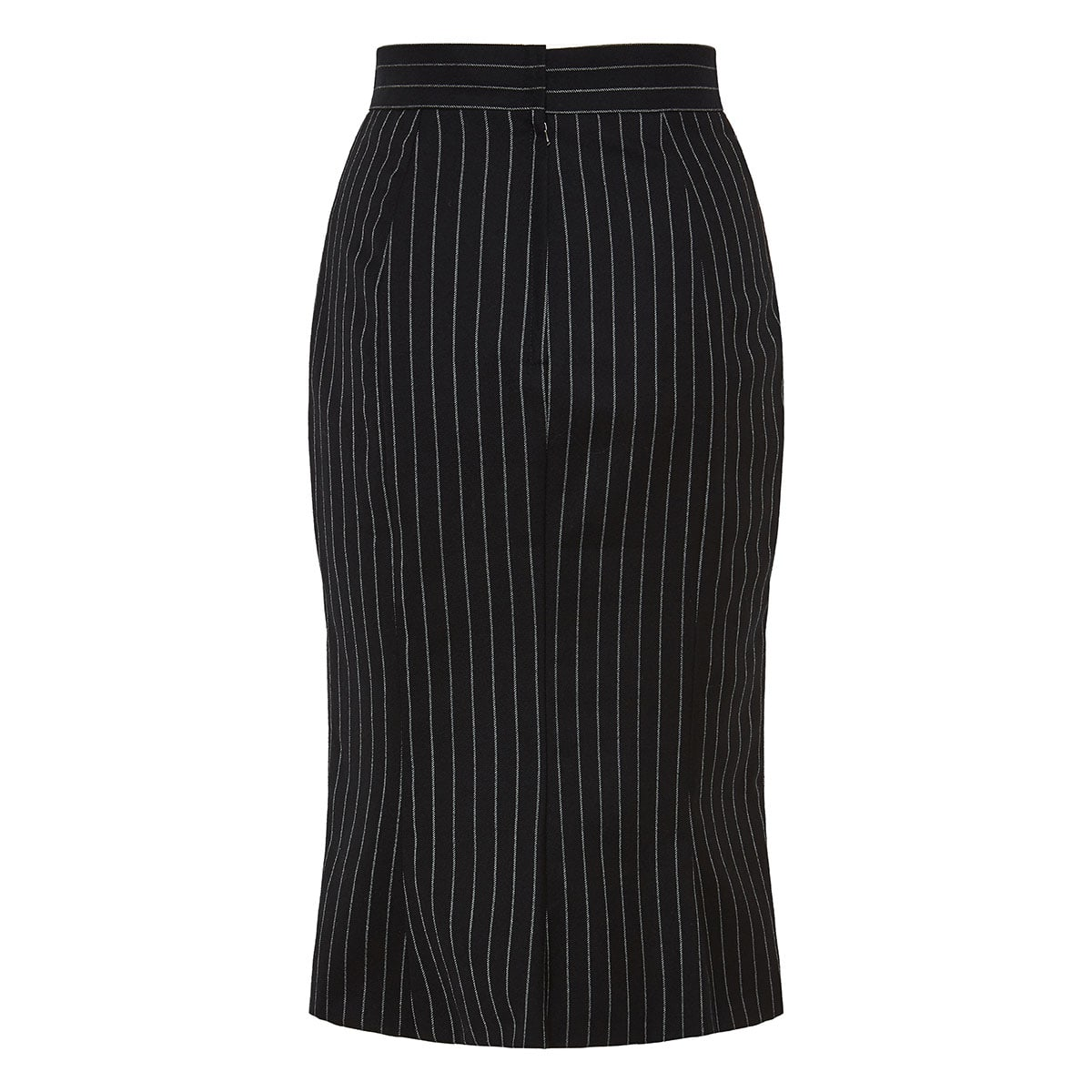 Pinstripe wool midi skirt