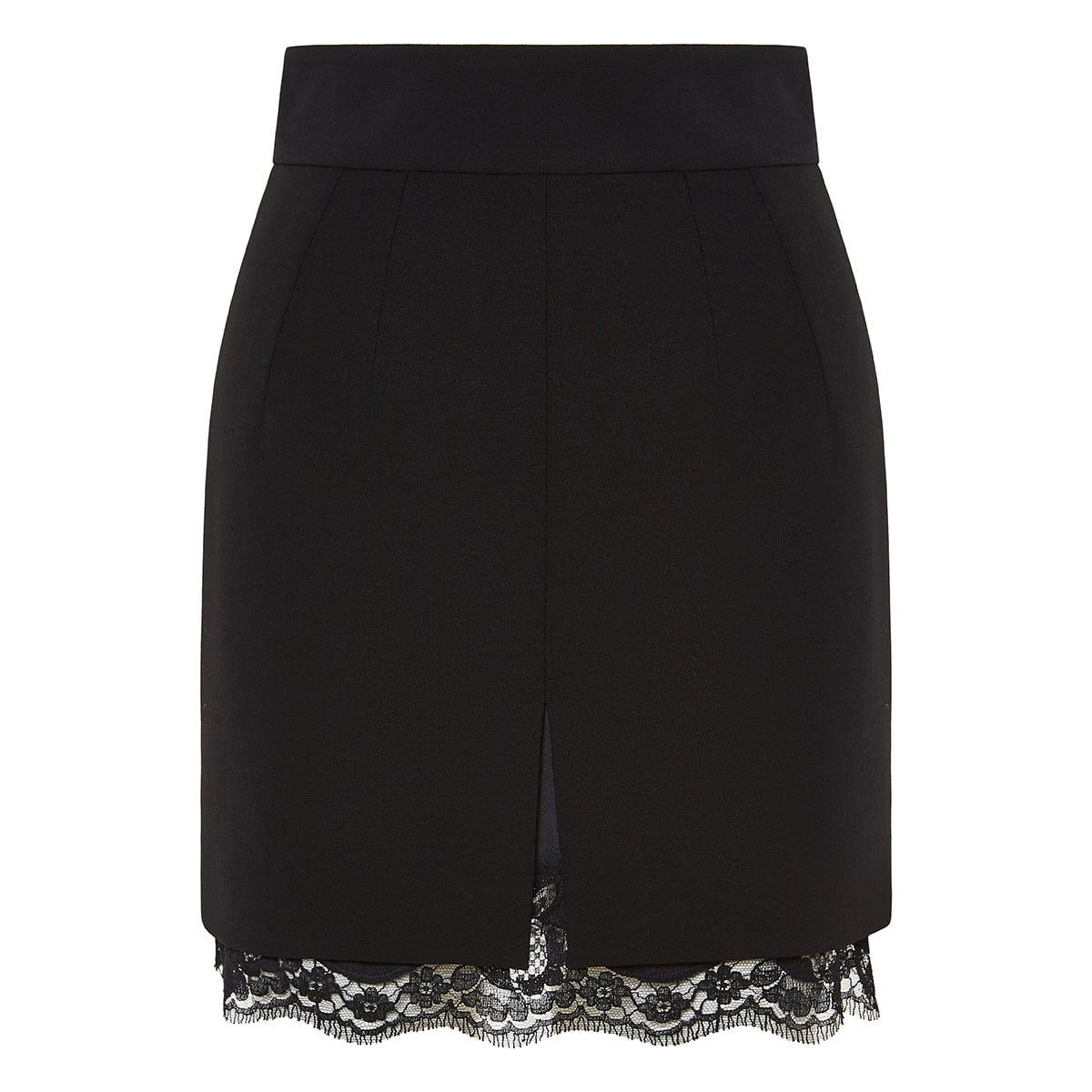 Lace-trimmed mini skirt