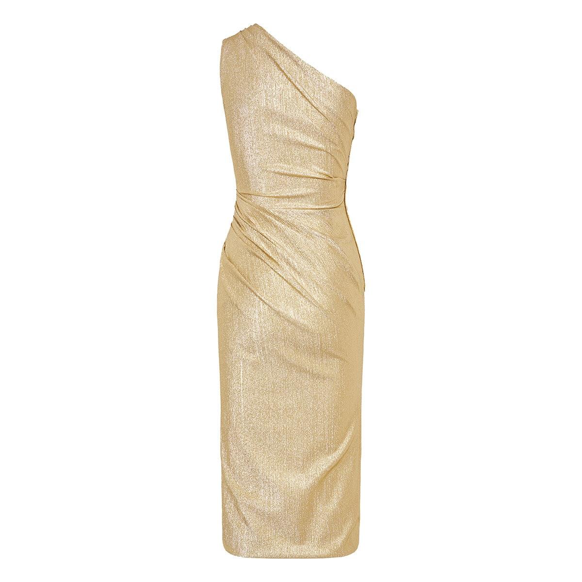 One-shoulder metallic midi dress