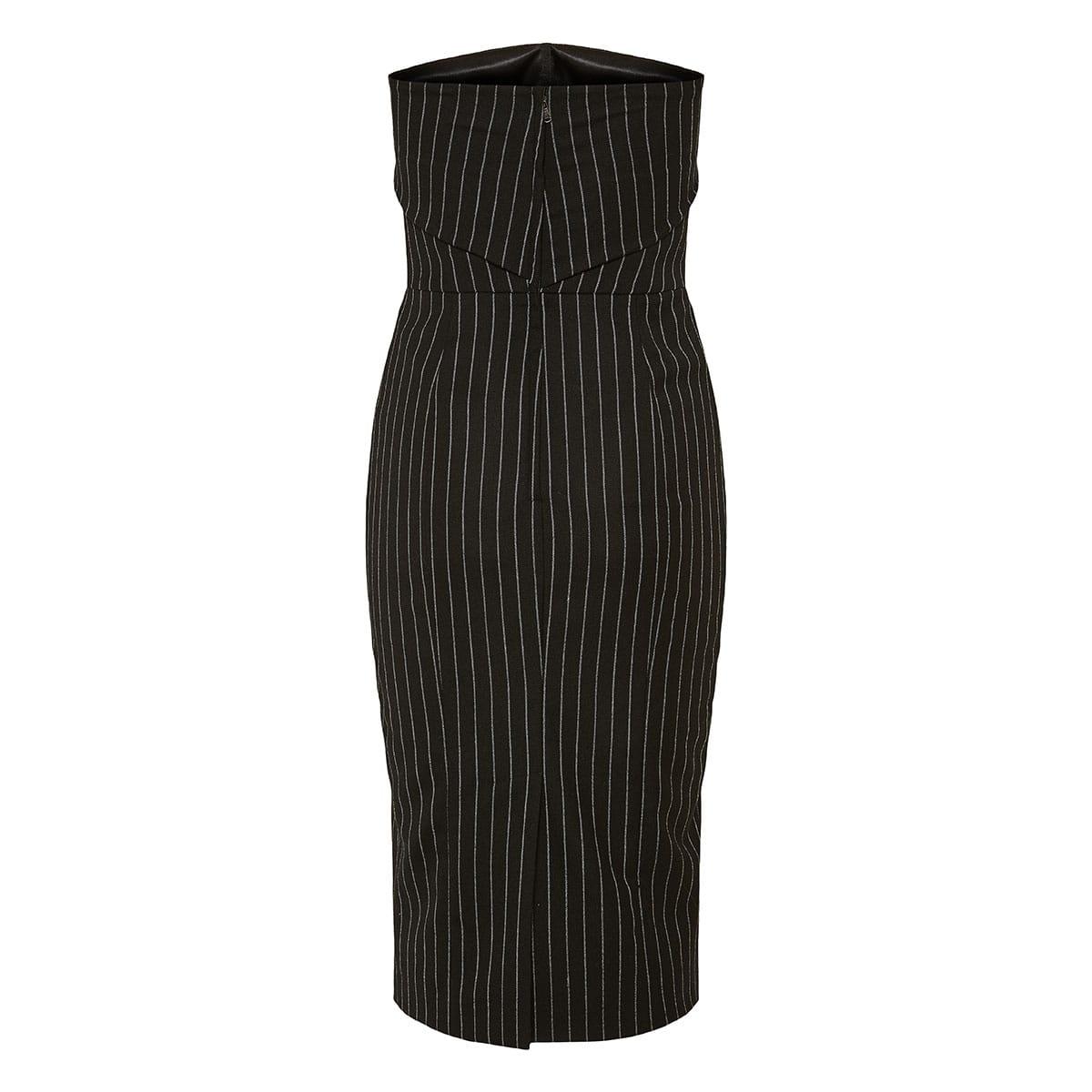 Pinstripe strapless midi dress