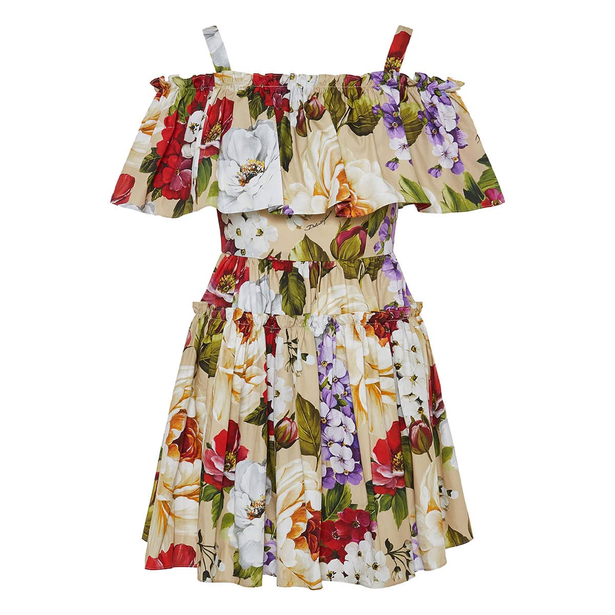Floral ruffled pleated mini dress
