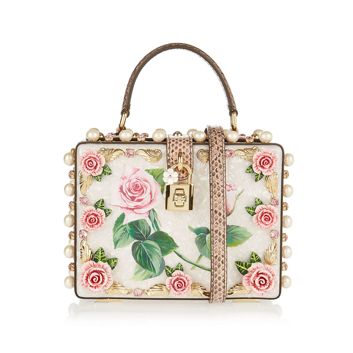 Embellished mother-of-pearl dolce box bag