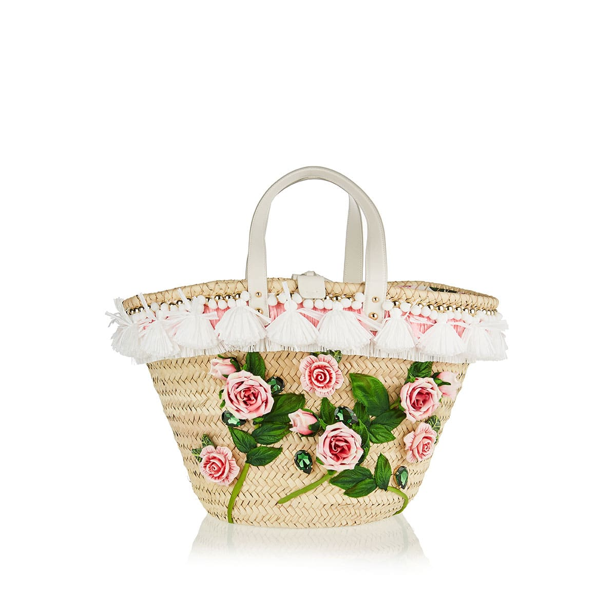 Flower-embellished straw basket bag