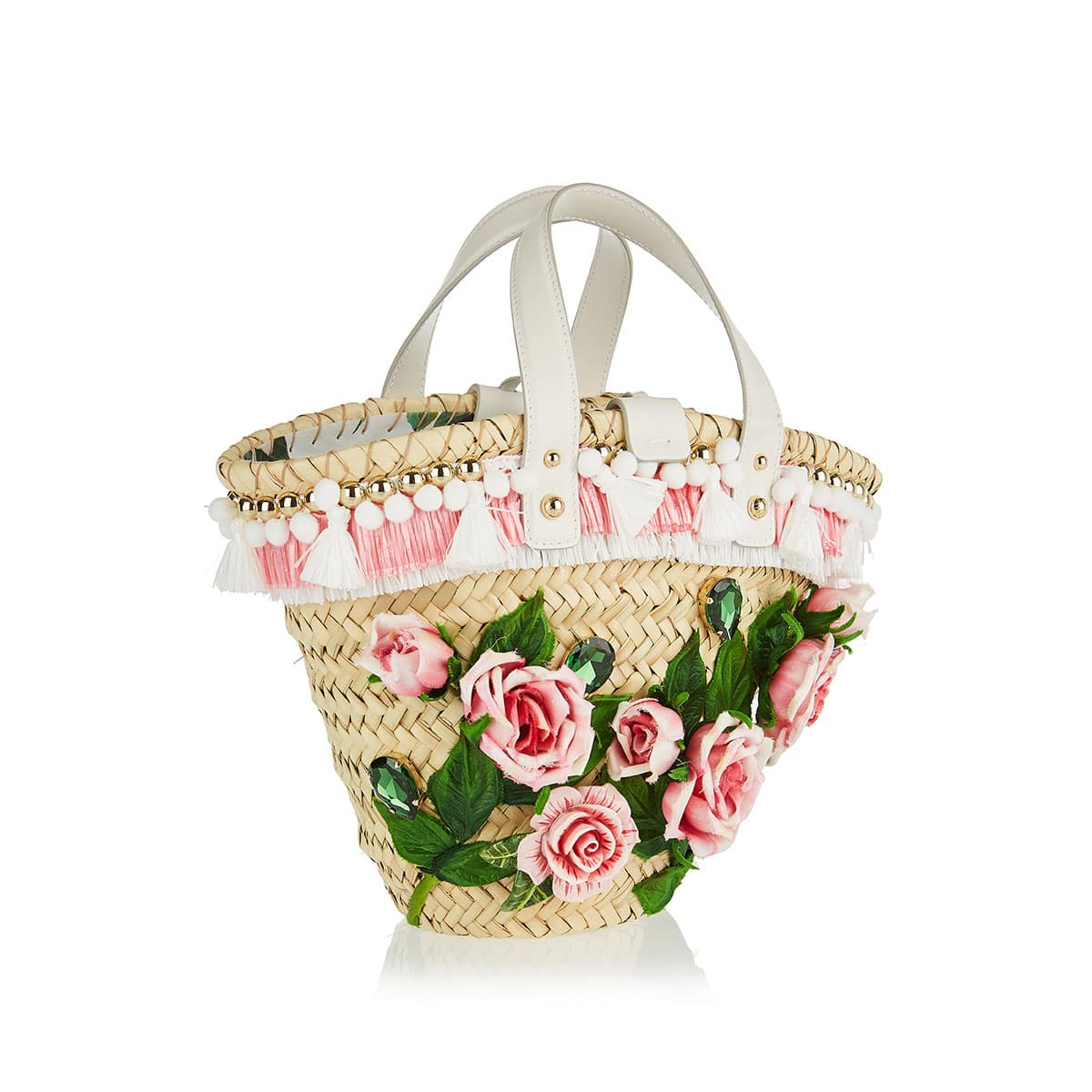 Flower-embellished straw basket bag
